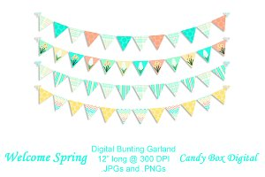 Welcome Spring Digital Bunting