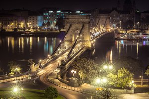 Bridge at the night in Budapest