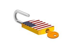 Padlock and Key American Flag Design