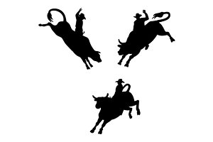 Three Rodeo Cowboy Bull Riding Retro
