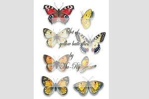 Set of yellow batterflies