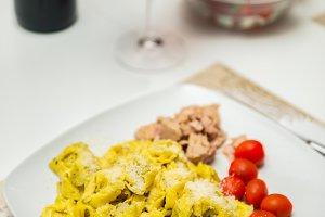 Italian dinner with pasta wine
