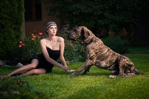 elegant woman with a big dog