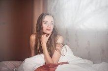 Young beautiful woman waking up