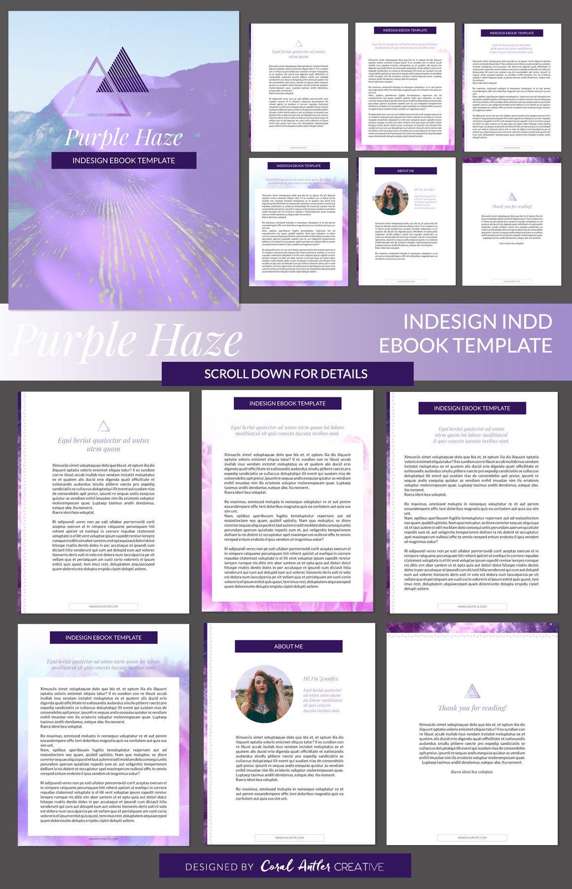indesign templates for books - purple haze indesign ebook template presentation