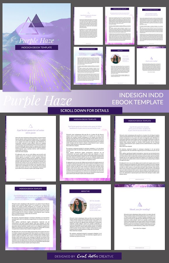 Purple Haze InDesign Ebook Template ~ Presentation Templates ...