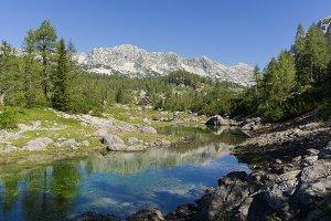 Beautiful mountain scenery by lake