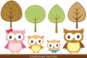 Owl Family and 4 trees Digital Art