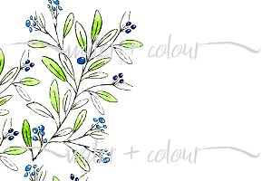 Olive branches hand drawn border