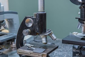 old microscope for test sample