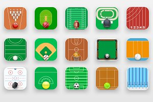 Set of 15 Square Sport Icons