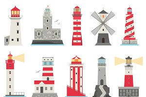 Vector set cartoon flat lighthouses