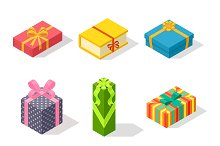 Vector gift box isometric