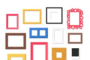 Antique photo frame vector set