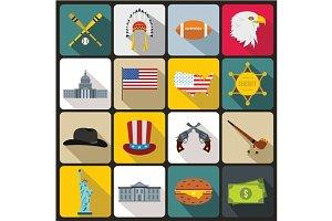 USA icons set, flat style