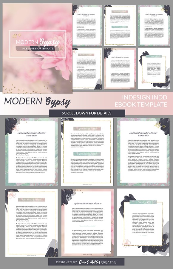 modern gypsy indesign ebook template presentation templates on creative market. Black Bedroom Furniture Sets. Home Design Ideas