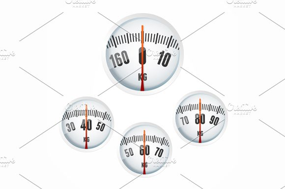 Bathroom Scale Display Set. Vector - Objects