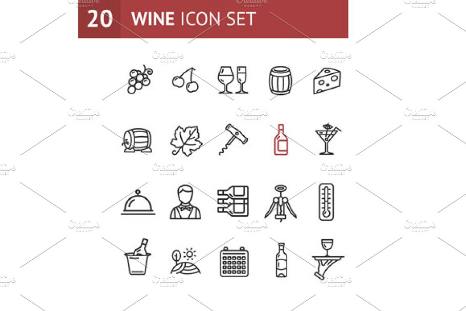 Wine Making Drink Icon Set. Vector in Icons