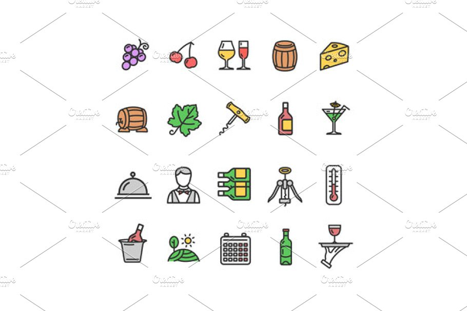 Wine Making Drink Icon Set. Vector in Icons - product preview 1