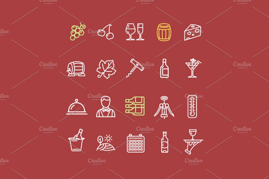 Wine Making Drink Icon Set. Vector in Icons - product preview 2