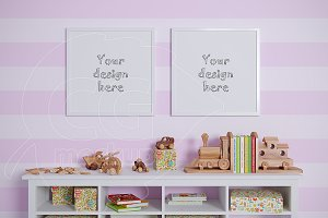 Kids room square frame mockups