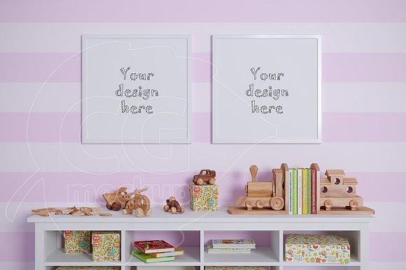 Kids room square frame mockups