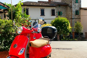 Red scooter. Tuscany