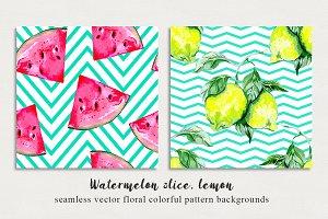 Watermelon,lemon abstract patterns