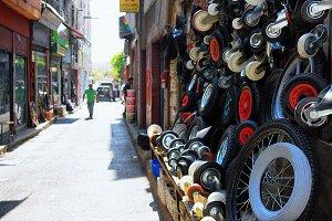 Different wheels in Turkish shop