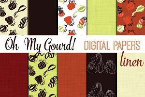 Oh My Gourd Digital Papers 12x12