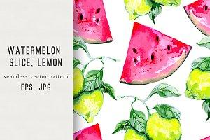 Watermelon slice,lemon pattern