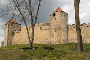 Impressive stone castle wall tower