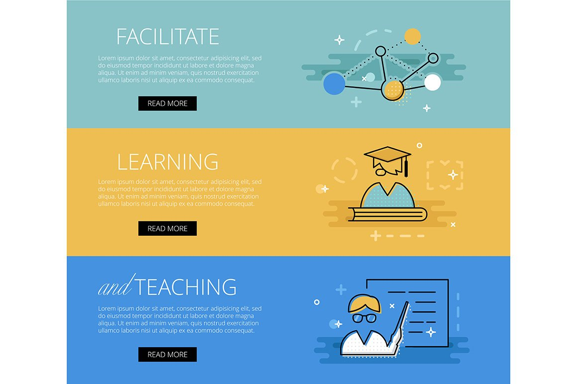 facilitate education banner set web elements creative market