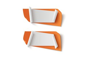Two orange abstract banners.
