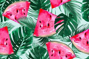Watermelons,tropical leaves pattern