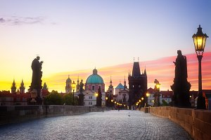 Charles bridge at sunset, Prague