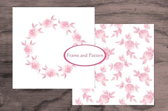 Watercolor set. Roses - Patterns