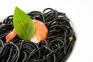 Black spaghetti with prawns