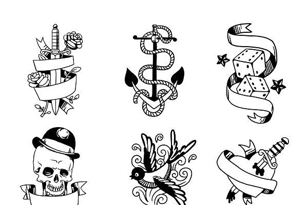 Old school tattoo element vector