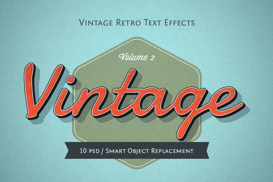 Vintage & Retro Text Effects ~ Photoshop Add-Ons ~ Creative