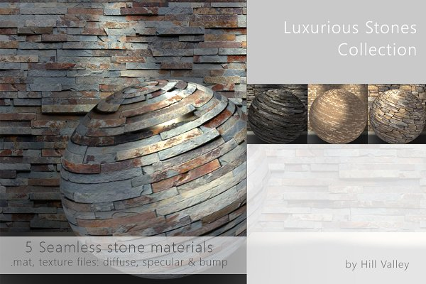 3D Brick: Hill Valley  - Luxurious seamless Stones