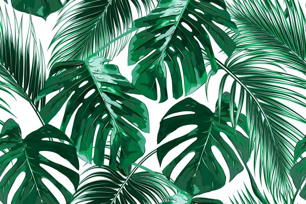 Tropical leaves vector pattern