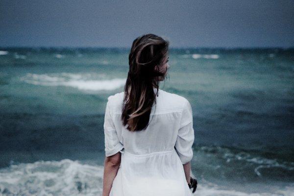 Girl at Stormy Sea