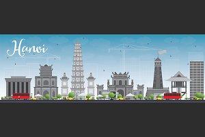 Hanoi skyline with gray landmarks