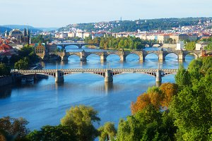 Bridges of Prague over VLtava river
