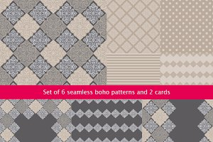6 seamless pattern and 2 cards