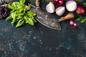 Healthy food cooking background