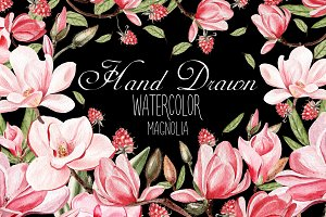 Hand Dawn Watercolor Magnolia