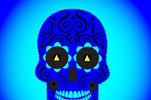 Skull vector background blue color