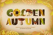 Golden Autumn Alphabet Oil painting